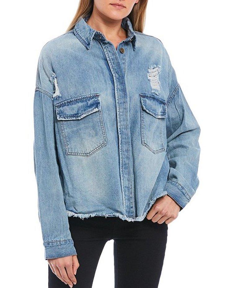 チェルシーアンドバイオレット レディース ジャケット・ブルゾン アウター Destructed Frayed Hem Denim Shirt Jacket Medium Blue