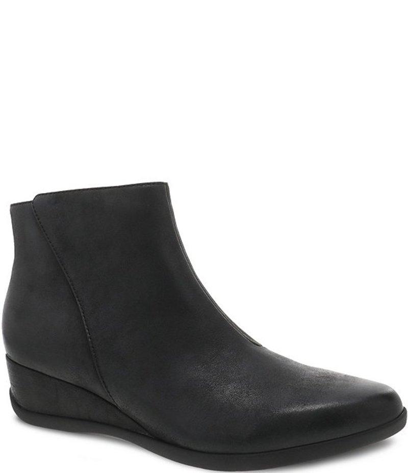 ダンスコ レディース ブーツ・レインブーツ シューズ Serenity Waterproof Leather Wedge Booties Black Waterproof