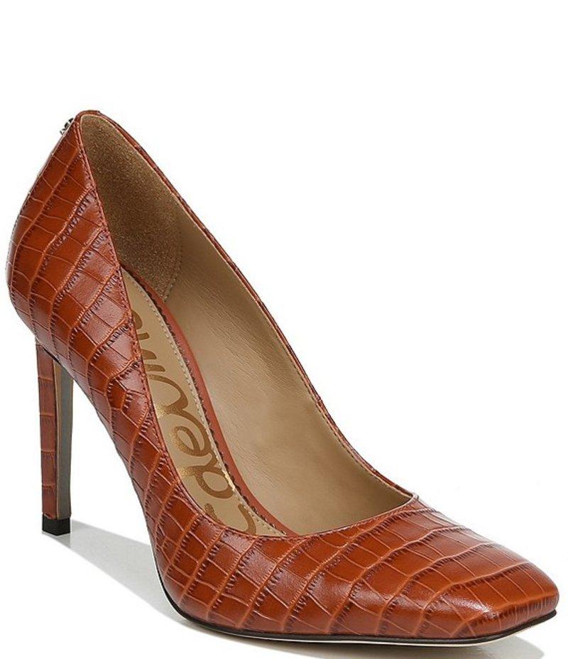 サムエデルマン レディース ヒール シューズ Beth Square Toe Croc Embossed Leather Pumps Cinnamon Spice