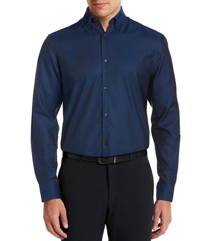 ペリーエリス メンズ シャツ トップス Slim-Fit Solid Wrinkle-Resistant Water-Repellent Dobby Long-Sleeve Woven Shirt Nautical Blue