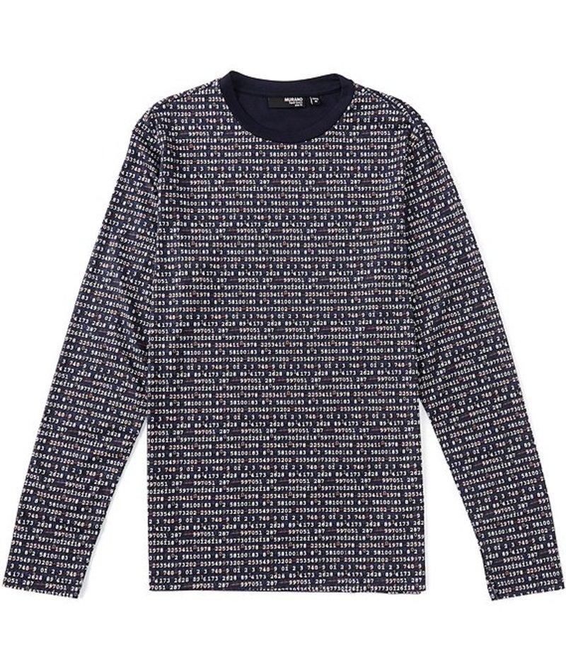 ムラノ メンズ シャツ トップス Liquid Luxury Slim-Fit Number Print Long-Sleeve Tee Navy