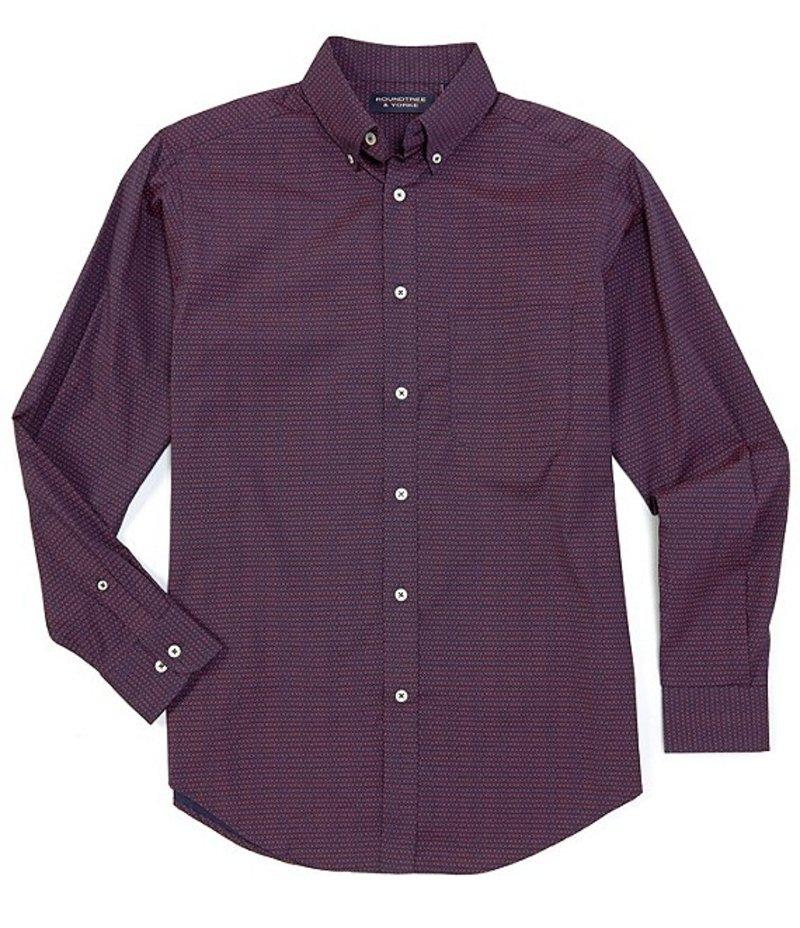 ラウンドトゥリーアンドヨーク メンズ シャツ トップス Big & Tall Luxury Cotton Long-Sleeve Dot Printed Sportshirt Blue