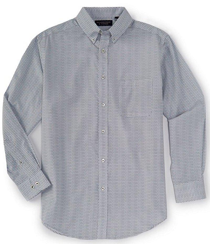 ラウンドトゥリーアンドヨーク メンズ シャツ トップス Big & Tall Luxury Cotton Long-Sleeve Dot Printed Sportshirt White