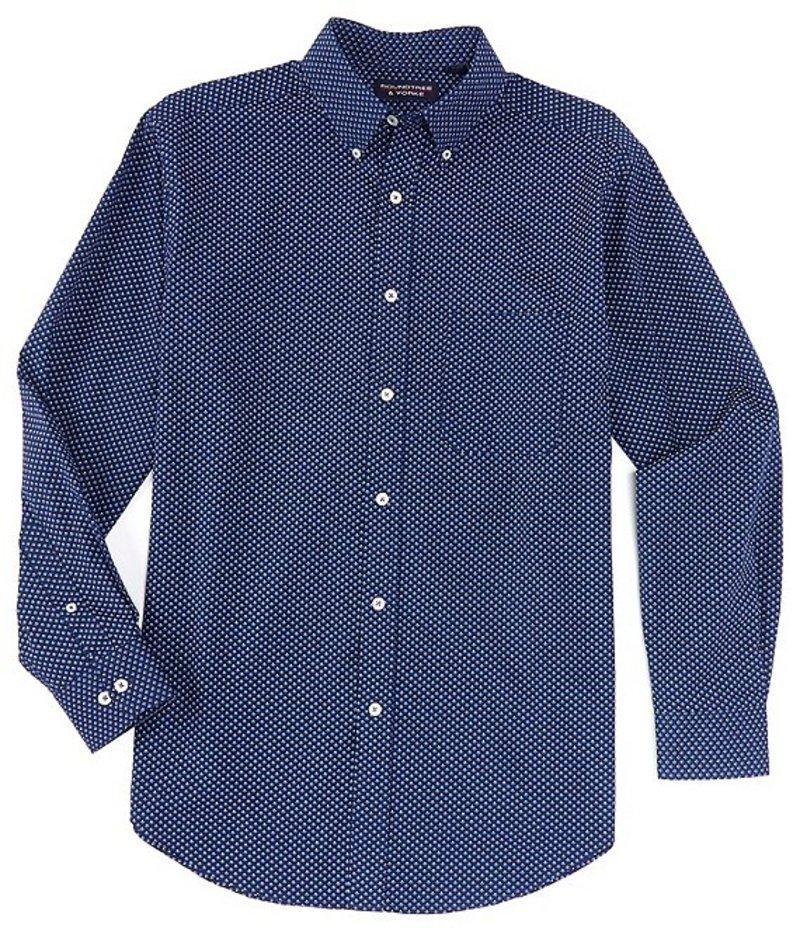 ラウンドトゥリーアンドヨーク メンズ シャツ トップス Big & Tall Luxury Cotton Long-Sleeve Diamond Printed Sportshirt Blue