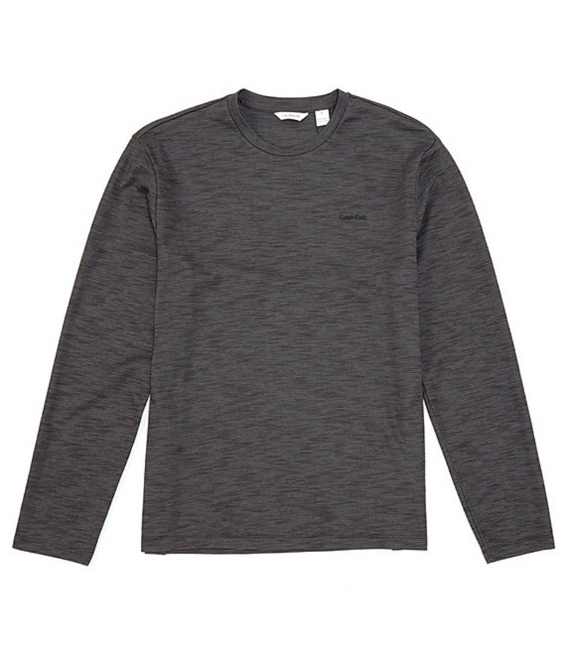 カルバンクライン メンズ シャツ トップス Slub Textured Long-Sleeve Tee Black