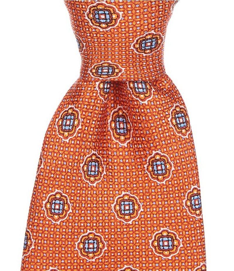 ダニエル クレミュ メンズ ネクタイ アクセサリー Temple Medallion Print Traditional 3 1/4#double; Silk Tie Orange