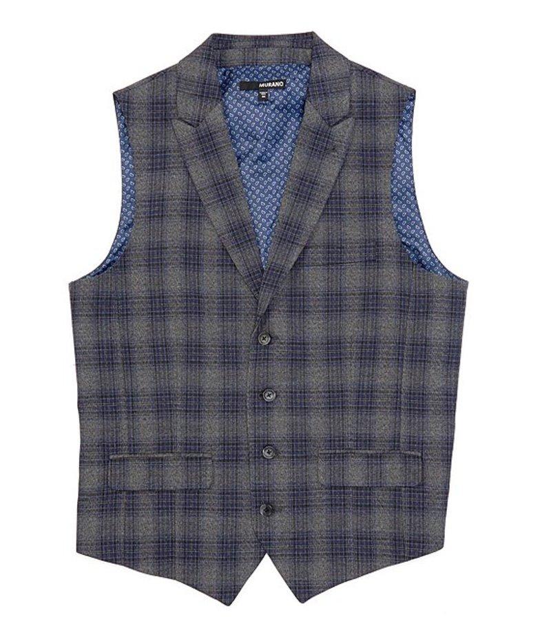 ムラノ メンズ ベスト アウター Shawl Collar Plaid Suit Separates Vest Grey