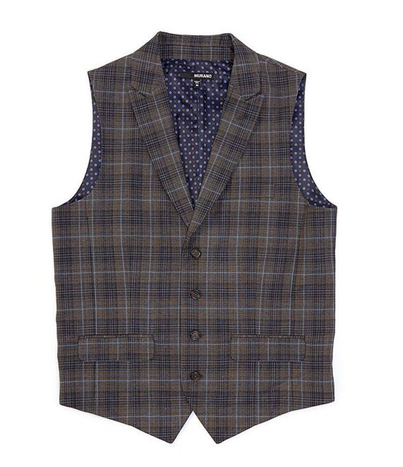 ムラノ メンズ ベスト アウター Shawl Collar Plaid Brown Suit Separates Vest Brown