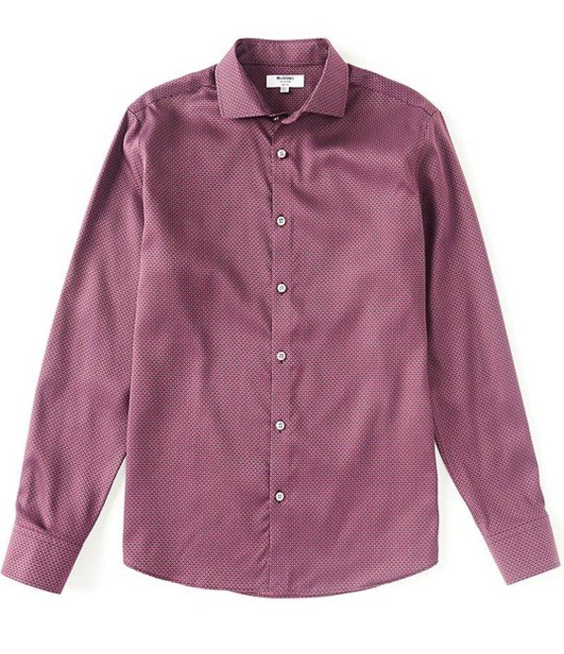 ムラノ メンズ シャツ トップス Slim-Fit Pyramid Print Long-Sleeve Woven Shirt Purple:ReVida 店