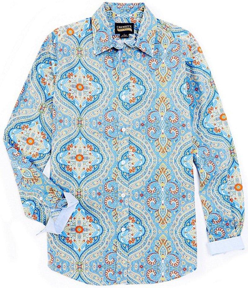 ダニエル クレミュ メンズ シャツ トップス Jeans Paisley Stretch Long-Sleeve Woven Shirt Blue