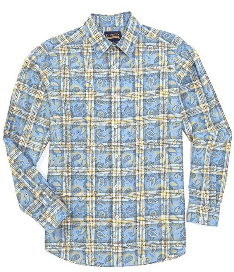ダニエル クレミュ メンズ シャツ トップス Jeans Paisley Plaid Long-Sleeve Woven Shirt Blue