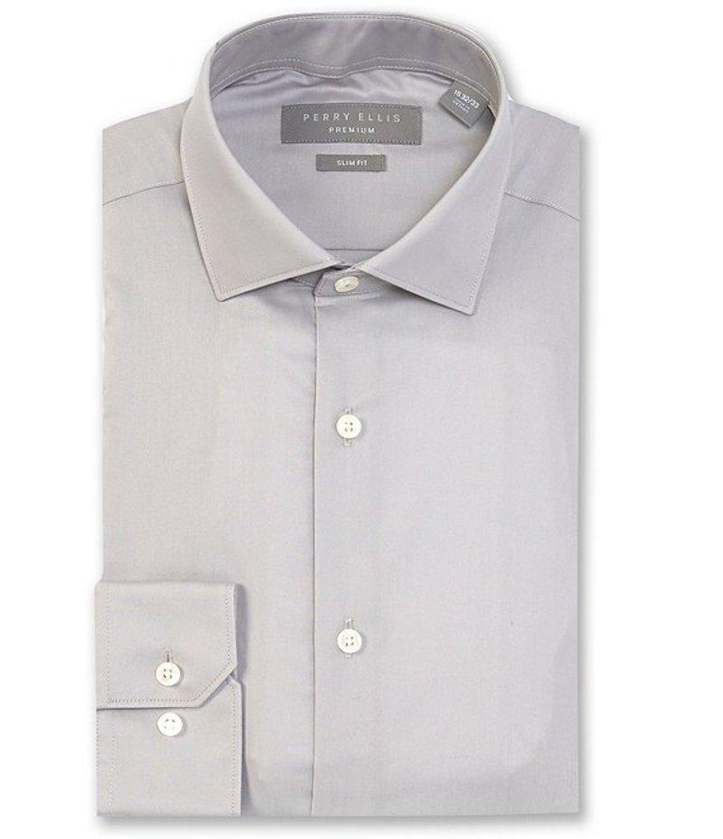 ペリーエリス メンズ シャツ トップス Premium Non-Iron Slim-Fit Spread-Collar Solid Dress Shirt Silver Grey