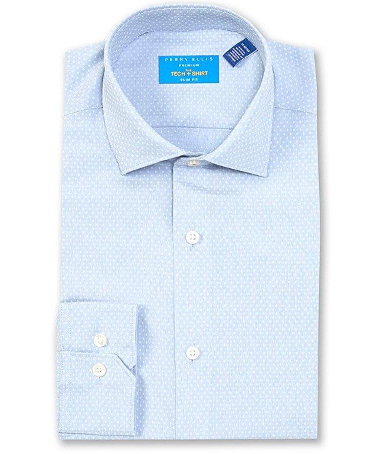 ペリーエリス メンズ シャツ トップス Premium Non-Iron Performance Slim-Fit Spread Collar Micro Diamond Dobby Dress Shirt Light Blue