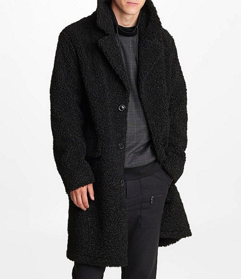 カール ラガーフェルド メンズ パーカー・スウェット アウター Faux-Sherpa Top Coat Black