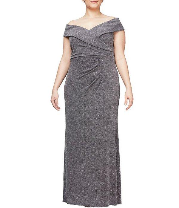 アレックスイブニングス レディース ワンピース トップス Plus Size Off-the-Shoulder Metallic Sheath Dress Gunmetal