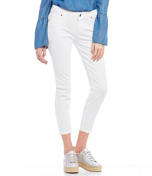 セレブリティピンク レディース デニムパンツ ボトムス Super-Soft Mini-Roll-Cuff Cropped Skinny Jeans Off White