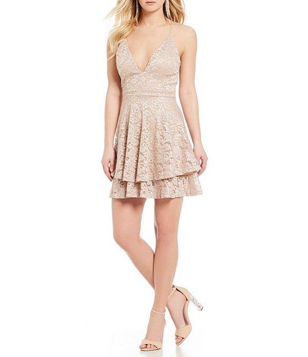 ハニーアンドロージー レディース ハーフパンツ・ショーツ ボトムス Lace Double-Layer-Hem Fit-And-Flare Dress Quartz