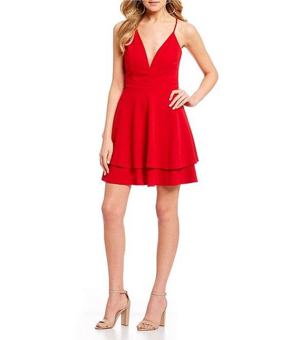 ハニーアンドロージー レディース ワンピース トップス Lace Back Double Hem Fit-and-Flare Dress Red
