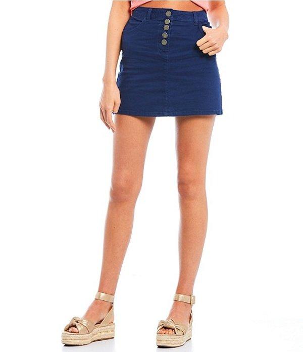 カッパーキー レディース スカート ボトムス Button Front Mini Skirt Navy