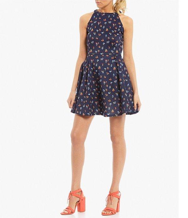 カッパーキー レディース ワンピース トップス Floral Scuba Dress Navy