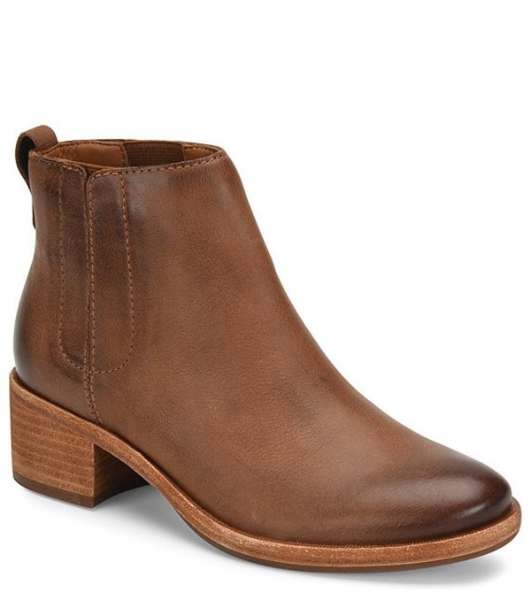 コークイーズ レディース ブーツ・レインブーツ シューズ Mindo Leather Block Heel Booties Brown