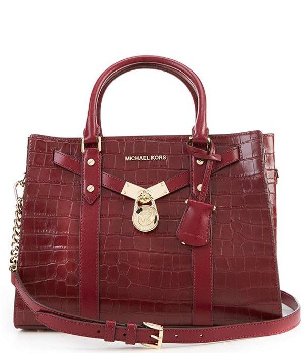 注目のブランド マイケルコース レディース ハンドバッグ バッグ Nouveau Hamilton Large Satchel Bag Dark Berry, ROUND OVER b04a3637