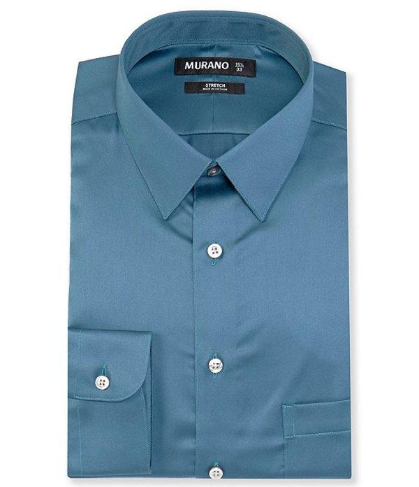 ムラノ メンズ シャツ トップス Slim-Fit Point-Collar Solid Sateen Dress Shirt Teal