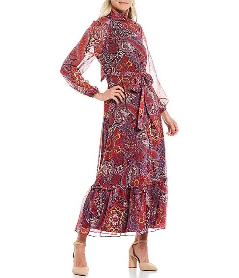 タハリエーエスエル Hem Yoryu Paisley Waist Long Crimson Print Metallic Maxi レディース Paisley Tie Sleeve ワンピース Ruffle トップス Dress