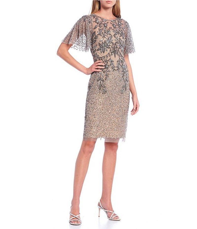 【送料無料/新品】 アドリアナ パペル レディース ワンピース トップス Flutter Sleeves Beaded Mesh Midi Dress Mercury/Nude, タブタブ&景品太郎 6fbfc388