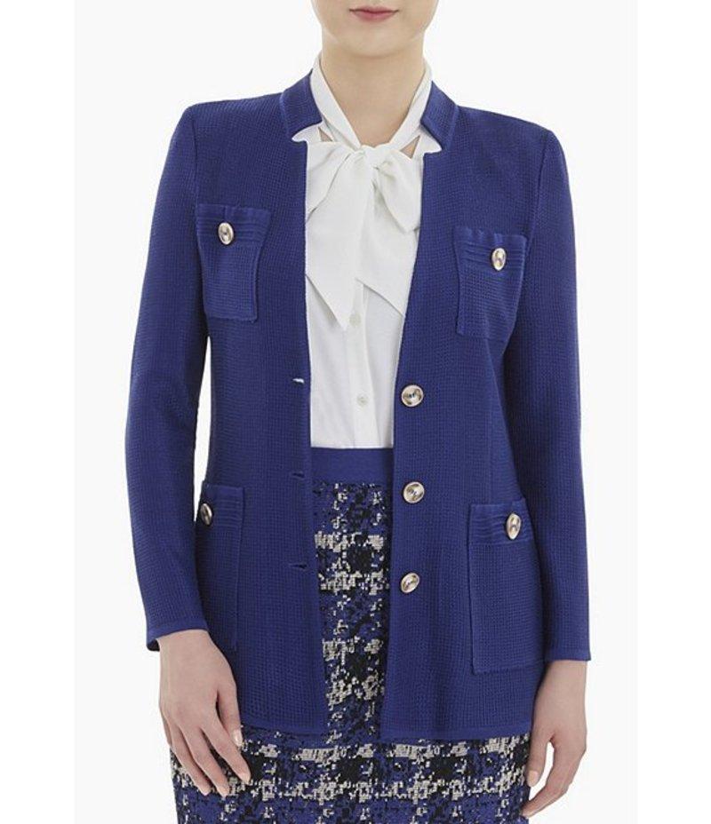 Long Pocket Four レディース Sleeve Front Majestic Knit Blue ジャケット・ブルゾン Button アウター ミンウォン Jacket