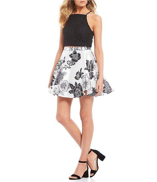 ジョディ クリストファー レディース ワンピース トップス Lace Top with Floral Skirt Two-Piece Dress Black/Ivory