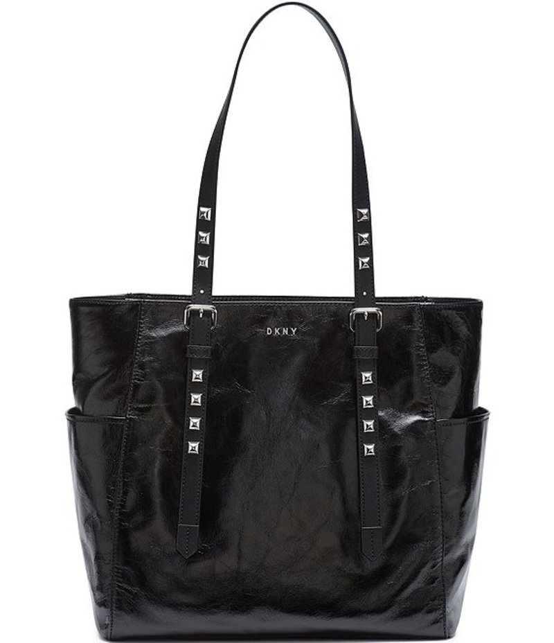 Leather キャラン Tote Black/Silver Naomi レディース ニューヨーク Studded トートバッグ バッグ ダナ