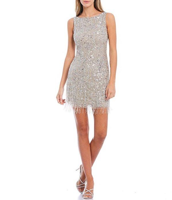 【限定価格セール!】 アドリアナ パペル Dress レディース Silver ワンピース トップス Fringe Petite Size Beaded Sleeveless Fringe Hem Sheath Dress Silver, ホールセールリミテッド:d777d7e1 --- delipanzapatoca.com