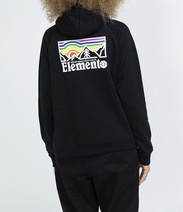 送料無料 サイズ交換無料 エレメント レディース アウター パーカー スウェット Flint Graphic Hoodie Logo 秀逸 Landscape Black セール開催中最短即日発送