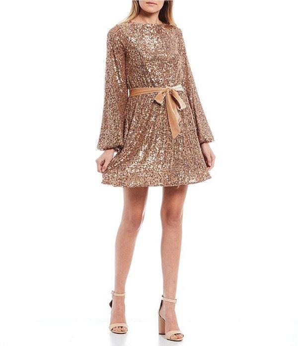 V-Neck Tie Waist ジービー ボトムス Velvet Dress Allover ハーフパンツ・ショーツ Copper Sequin Sleeve レディース Long