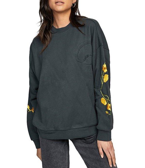 送料無料 サイズ交換無料 ルーカ レディース アウター 返品交換不可 パーカー スウェット Long-Sleeve Sweatshirt Wandering Pullover Black Botanicals プレゼント