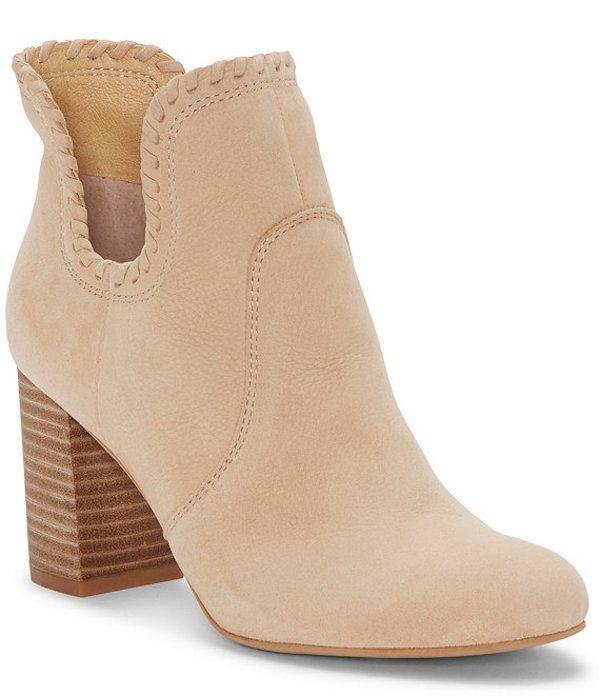 Stack Heel Booties Leather Sivya ブーツ・レインブーツ レディース シューズ Dip Nubuck Whipstitch Side Block Stone ラッキーブランド
