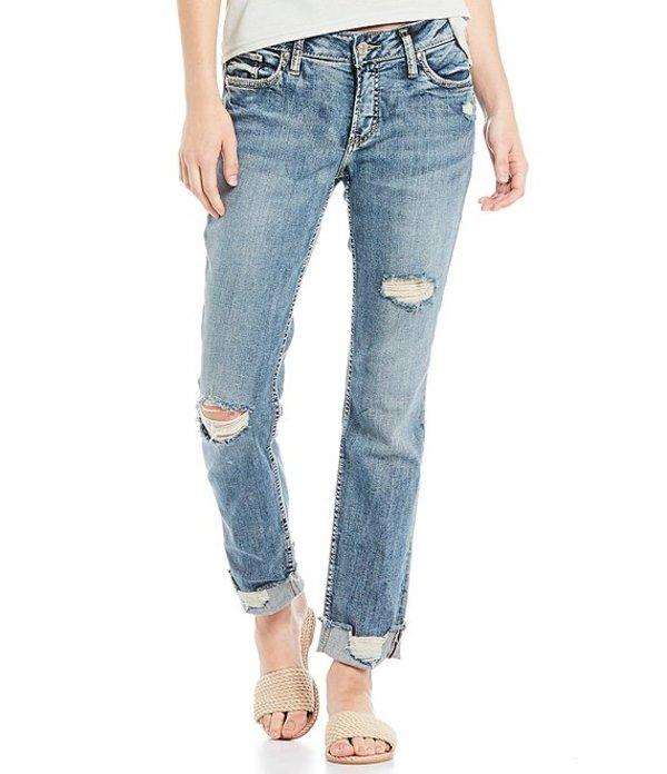 シルバー ジーンズ レディース デニムパンツ ボトムス Elyse Mid Rise Destructed Ankle Slim Rolled Cuff Jeans Indigo