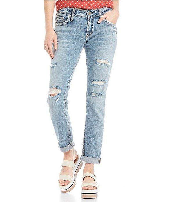 シルバー ジーンズ レディース デニムパンツ ボトムス Destructed Rolled Cuff Boyfriend Jeans Indigo