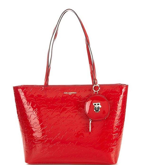 トートバッグ レディース Coin Large and ラガーフェルド Set バッグ カール Crimson Gift Bag Tote Purse