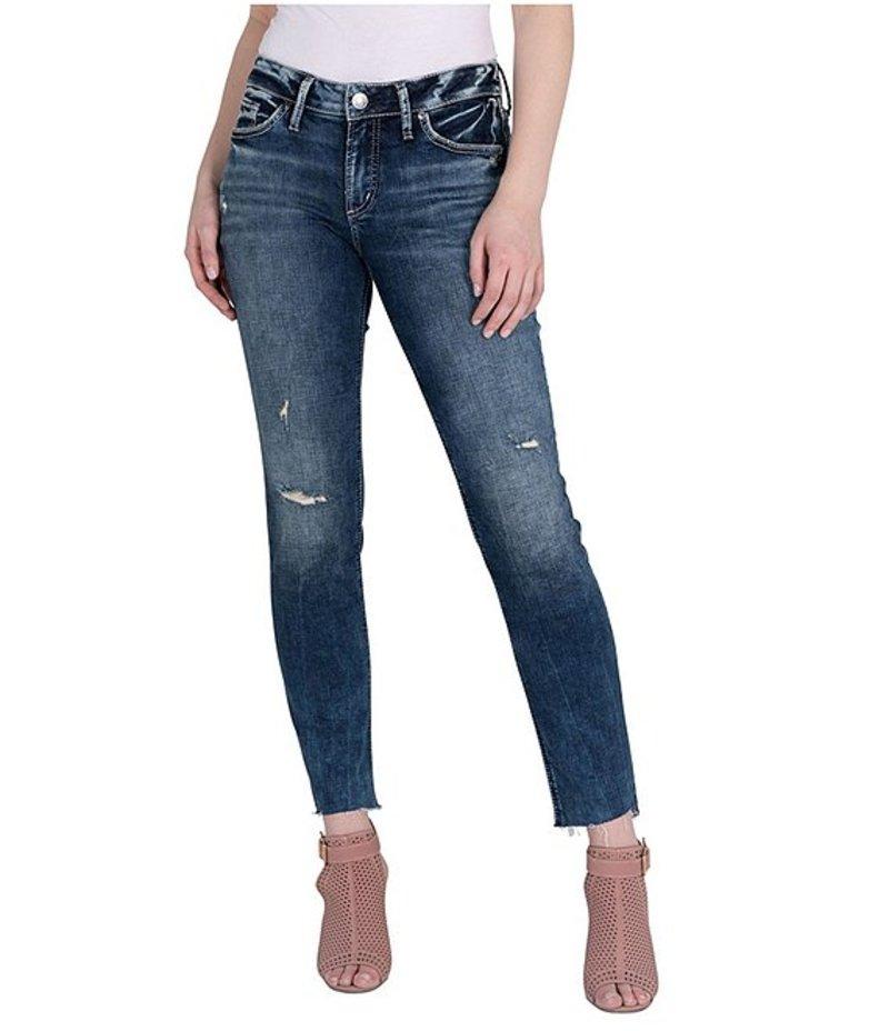 シルバー ジーンズ レディース デニムパンツ ボトムス Suki Distressed Raw Hem Straight Jeans Indigo