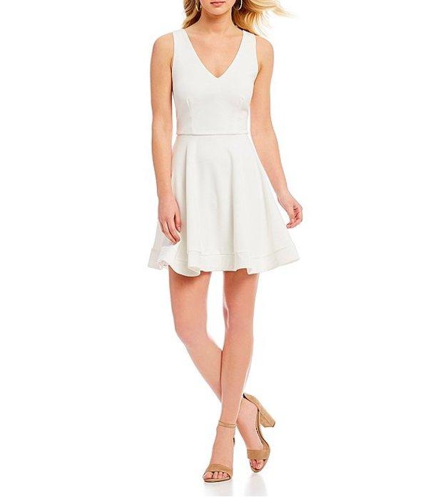 ビーダーリン レディース ワンピース トップス Sleeveless V-Neck Bow-Back Fit-and-Flare Dress Off White