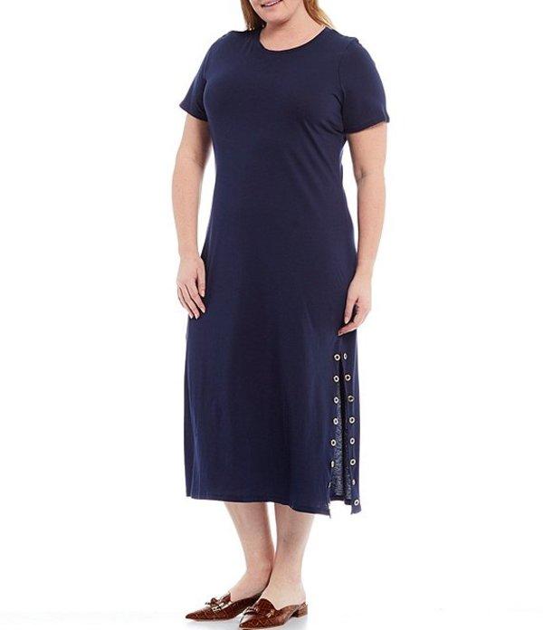 人気絶頂 マイケルコース レディース Size ワンピース トップス MICHAEL Michael Kors Plus Navy Size Kors Knit Jersey Crew Neck Short Sleeve Grommet Detail T-Shirt Midi Dress True Navy, 北佐久郡:a5c54df0 --- kventurepartners.sakura.ne.jp