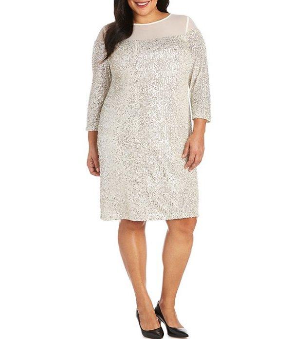 格安人気 アールアンドエムリチャーズ Dress レディース ワンピース トップス Plus Size Illusion Illusion Neck Size Stretch Sequin Mesh Dress Champagne, 釣具のアングル:80eb8b32 --- kventurepartners.sakura.ne.jp