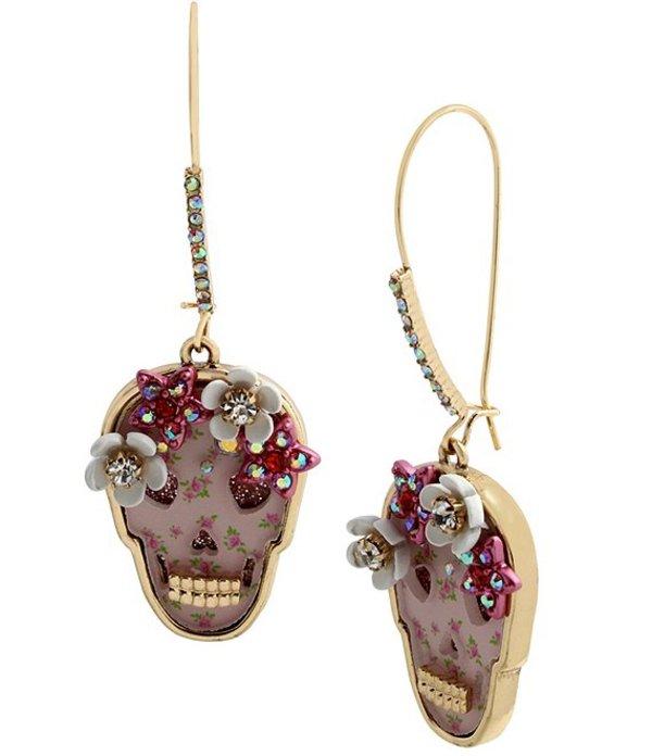 送料無料 サイズ交換無料 ベッツィジョンソン おトク レディース アクセサリー ピアス イヤリング Dangle Earrings Skull 爆売り Pink Floral