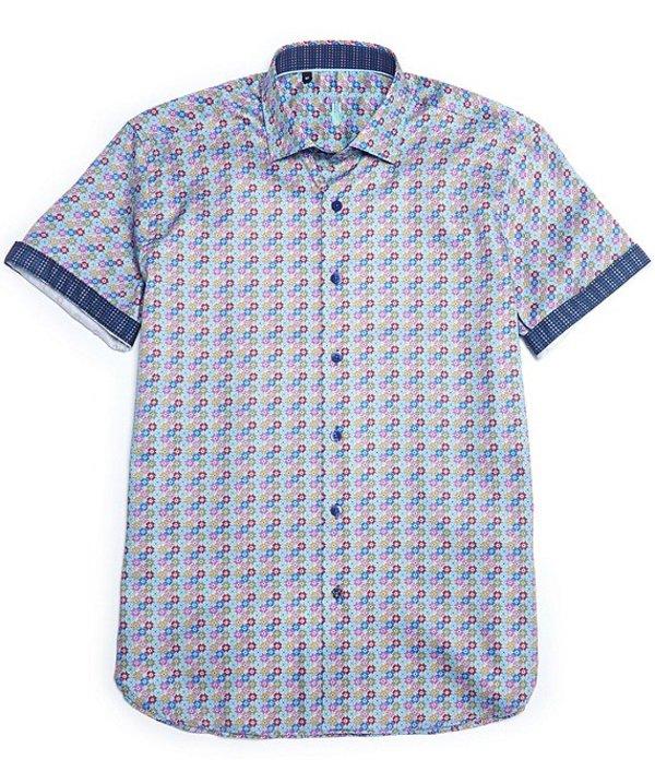 送料無料 サイズ交換無料 倉 ビスコッティ メンズ トップス シャツ Multi Big Tall お気に入 Short-Sleeve Geo Shirt Print Floral Woven