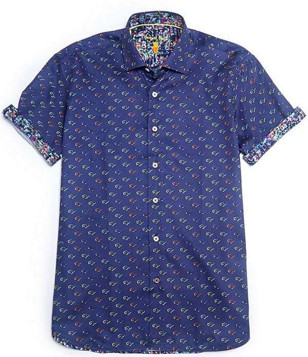 送料無料 サイズ交換無料 ビスコッティ メンズ トップス シャツ Navy Tall Short-Sleeve Shirt Sunglasses オンラインショッピング Big 大幅にプライスダウン Print Woven