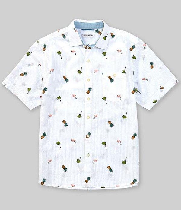 送料無料 サイズ交換無料 トッミーバハマ メンズ トップス シャツ Tango Woven White Shirt 百貨店 激安通販販売 Flamingo Short-Sleeve