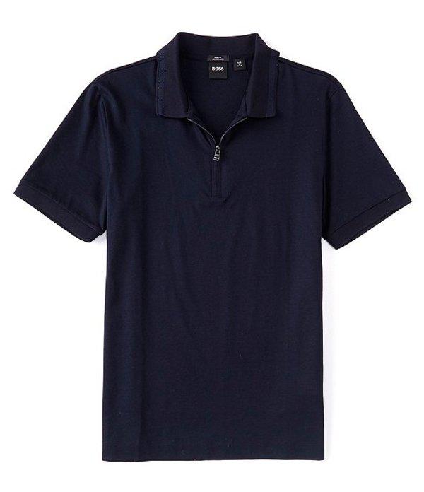 送料無料 サイズ交換無料 ヒューゴボス メンズ トップス シャツ Dark 販売実績No.1 Blue 市販 Polo Slim-Fit Polston BOSS Quarter-Zip Short-Sleeve Shirt