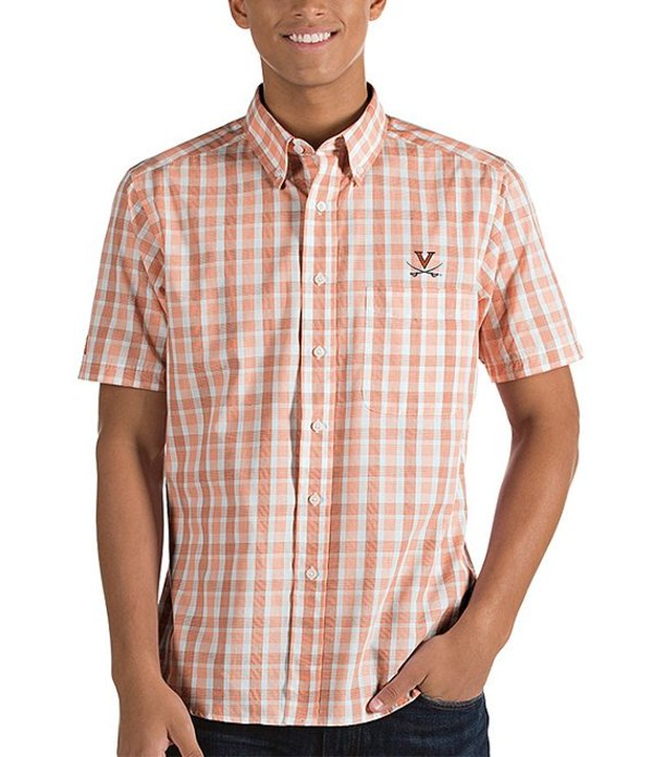 アンティグア メンズ シャツ トップス NCAA Crew Short-Sleeve Woven Shirt Virginia Cavaliers